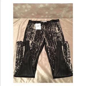 Diane Von Furstenberg Black Leather Pants Zip Leg